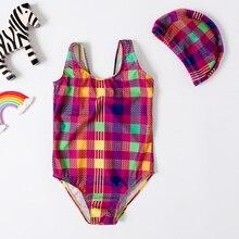 Новинка года; купальник для девочки; цельный купальник для девочки; Классический купальник с геометрическим принтом; купальник для девочки; купальный костюм с шапочкой