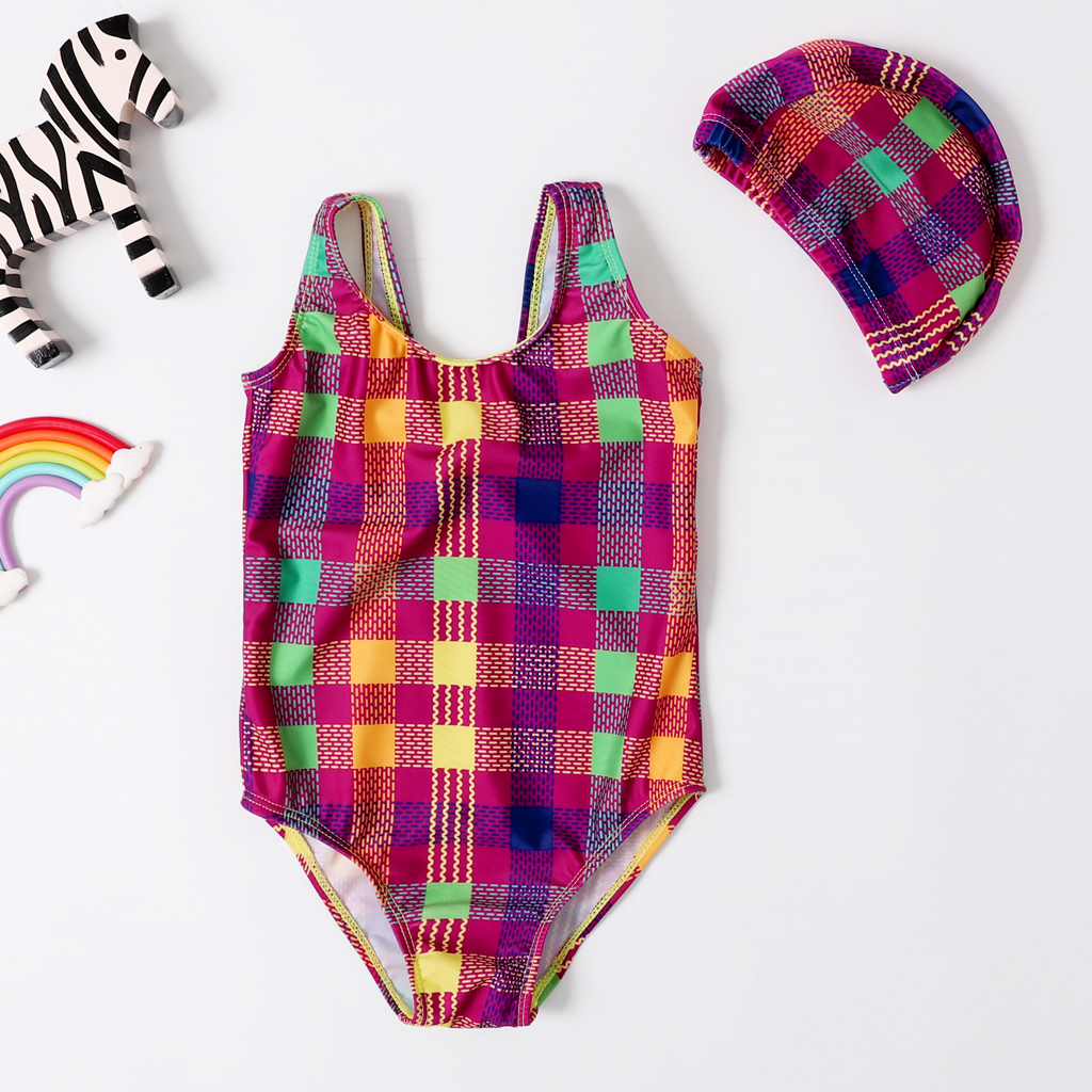2020 New Baby Girl Swimsuit Girl's One Piece Swimwear Classic Bodysuit Geometric Print Swimsuit For Girl Bathing Suit With Cap