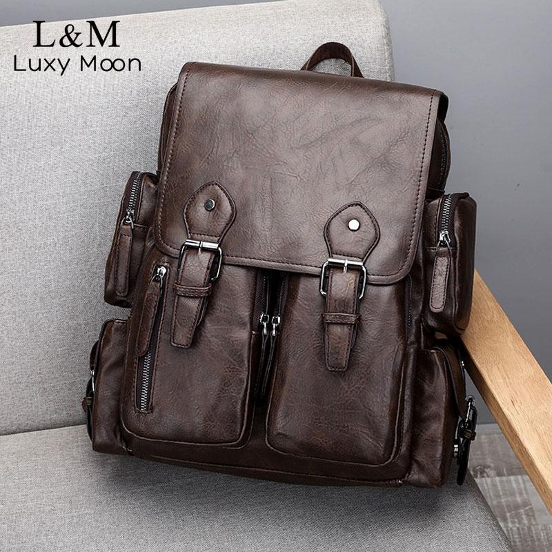 Men Casual Backpack Travel Schoolbag Male Large Capacity Teenager Luxury Vintage Bag Mochila PU Leather Laptop Backpacks XA651H