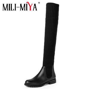 Image 2 - Fashion Women Over The Knee Elastic Boots Kid Suede Slip On Square Heels Waterproof Winter Ladies Motorcycle Shoes Size 34 40
