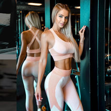 2019 New Arrival Autumn Running Sports Fitness Yoga Suit With Bra 2 Piece Set Women Popular Pink Quick Drying Tracksuit Women(China)