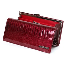 long women genuine leather wallet crocodile pattern womens