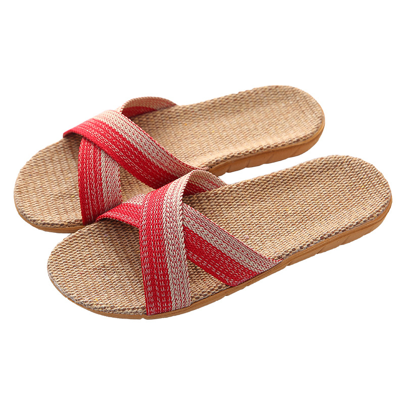 Suihyung Summer Women Slippers Beach Shoes Cross Belt Indoor Slippers House Slip On Couples Linen Flip Flops Slides Flat Sandals