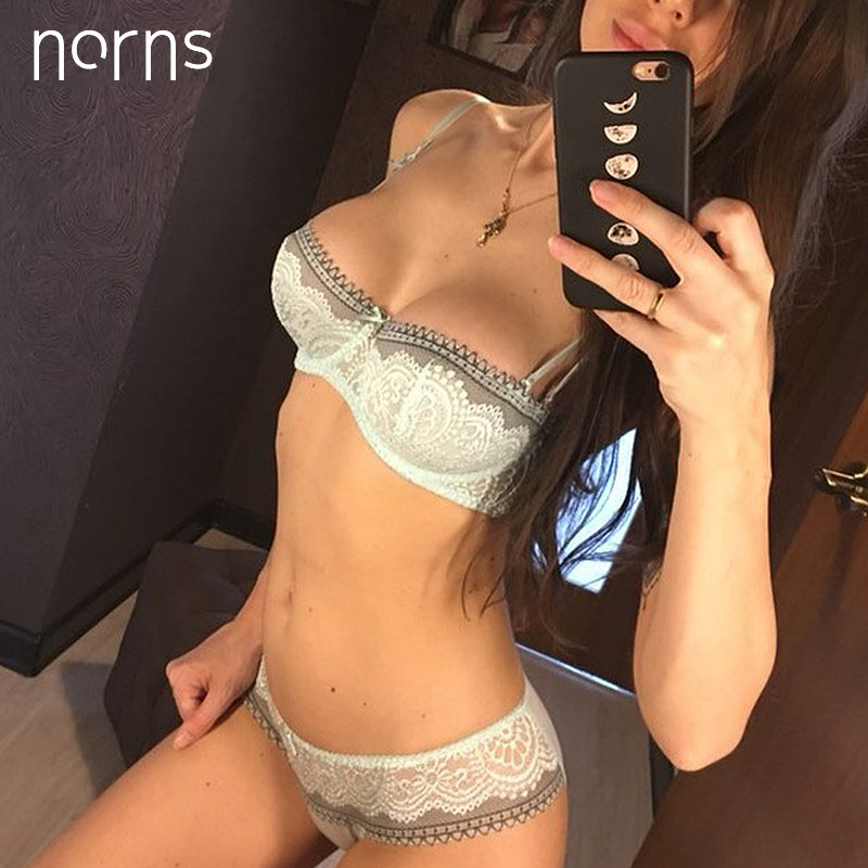 Norns Ultra Thin Half Cup Bra Plus Size D Cup Lace Transparent Bras Set Sexy Green Lingerie Sets Women Hollow Out Bra