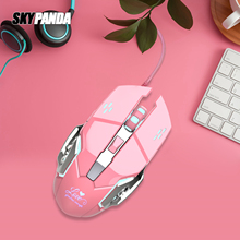 Girl Pink Gaming Mouse 3200dpi Cool Backlight Inner Stylish Beautiful 4 Level DPI Wired Women's Mouse for Office Games Gift