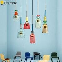 북유럽 색 유리 펜 던 트 조명 현대 거실 침실 어린이 룸 펜 던 트 램프 홈 장식 매달려 램프 전등