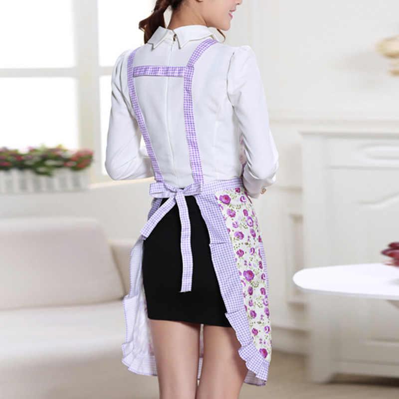 Su geçirmez Pişirme Önlük Baskı Prenses Önlük Elbise Kalınlaşmak Kadınlar pamuk önlük Cepler ile Bayanlar Önlük Ev Gereçleri