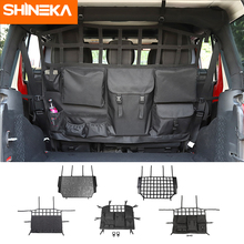 Shineka estiva tidying para jeep wrangler jk jl jt 4 door banco de carro volta saco de armazenamento acessórios do tronco para jeep wrangler jk jl jt