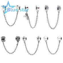 Bule Star 100% 925 Sterling Silver Love Connection Signature Heart and Crown Climbing Safety Chain