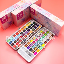 Professional 50/72/90/100 Colors Solid Watercolor Paints Set Basic Neone Glitter Watercolor Paint for Drawing Art Paint Supplies