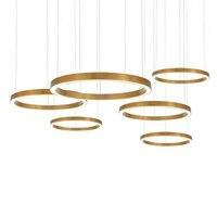 반지 디자인 현대 led 샹들리에 램프 스테인레스 스틸 골드 샹들리에 생활 조명 및 프로젝트 조명