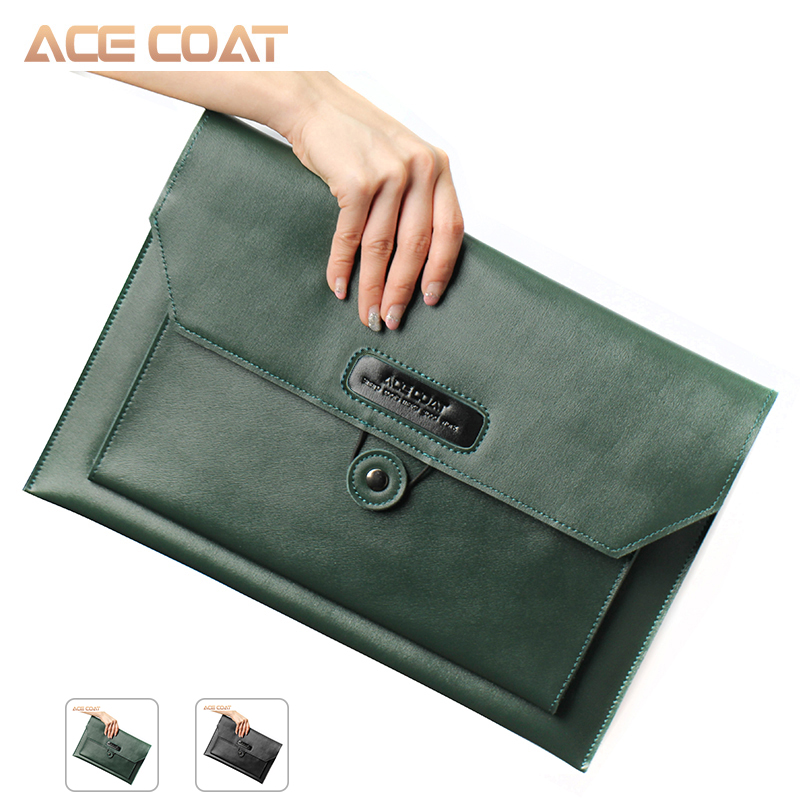 ACECOAT Notebook Split Bag Dark Green Leather Laptop Bag For MacBook Air/Pro 13/15/16 Laptop Sleeve, For Macbook Pro 16 Case