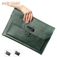 Acecoat Notebook Bag Donkergroen Split Lederen Laptoptas Voor Macbook Air/Pro 13/15/16 Laptop Sleeve  voor Macbook Pro 13 Case
