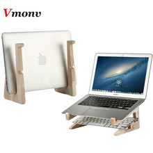 2 in 1 Wood Laptop Stand Holder Increased Height Storage stand Notebook Vertical Base Cooling Stand for Macbook 13 15 Inch Mount
