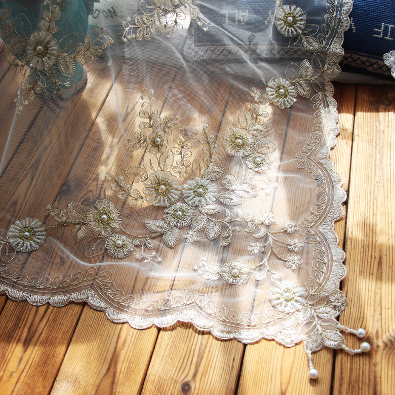 Embroidery lace poly white hook tassel tablecloth Tablecloth table cloth dinner hand sewing bead mat table runner cover FG1305