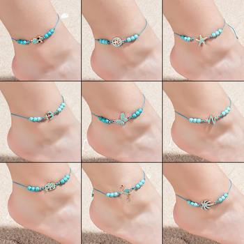 Bohemian Blue Acrylic Beads Ankle Bracelet for Women Leg Chain Coconut Tree Flamingo Anchor Electrocardiogram Owl Animal Anklet 1