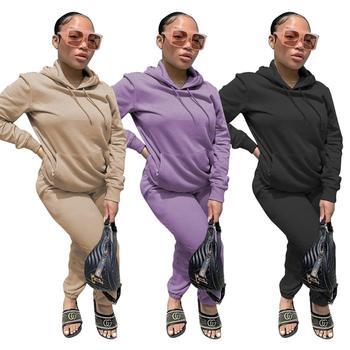 Echoine lounge wear Winter Thick fleece Hoodies Tops and Pants Two Piece Set Women Tracksuit Crop Top Trousers Casual Sportwear