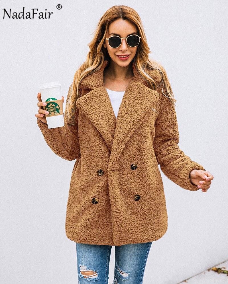 Nadafair plus size fleece faux fur jacket coat women winter pockets thicken teddy coat female plush overcoat casual outerwear 7