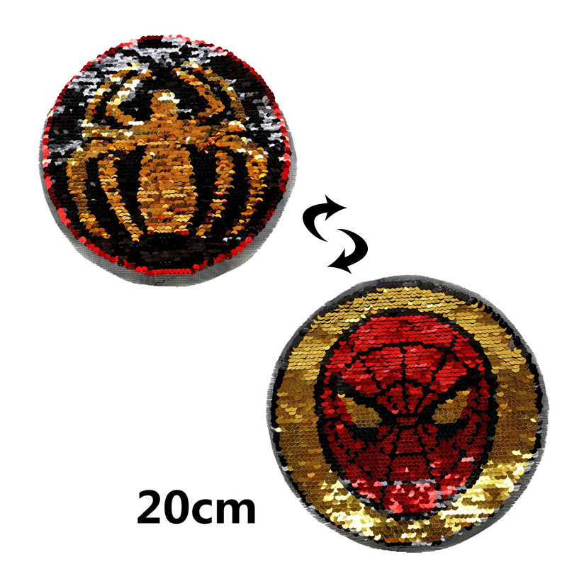 Computer Sequin Embroidery Double-sided Flip Sequin Patch Applique Clothing Accessories Football Spider-Man Cloth Stickers