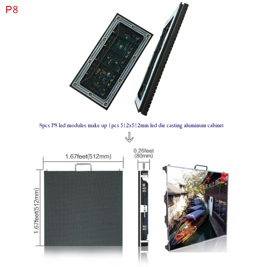 High Brightness Led Display P8 Waterproof Outdoor Full Color Led Module 256*128mm, Rgb Led Panel 32*16dots For Advertising