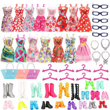40 pçs/pçs/set barbies boneca acessórios = 10 roupas + 10 sapatos + 10 cabides 5 óculos 2 colares 2 brincos 1 bolsa barbies