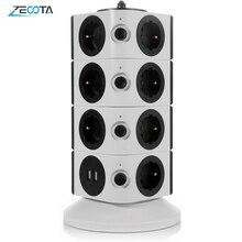 Turm Power Streifen Vertikale Surge Schutz 11/15 Steckdosen 2 USB Lade Port 6,5 ft/2M Verlängerung Kabel für haushalts Geräte