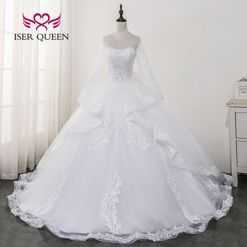 Backless Long Sleeve OFF White Wedding Dress 2020 Robe De Mariee Sheer Neck Lace Appliques Ball Gown Wedding Dresses WX0175