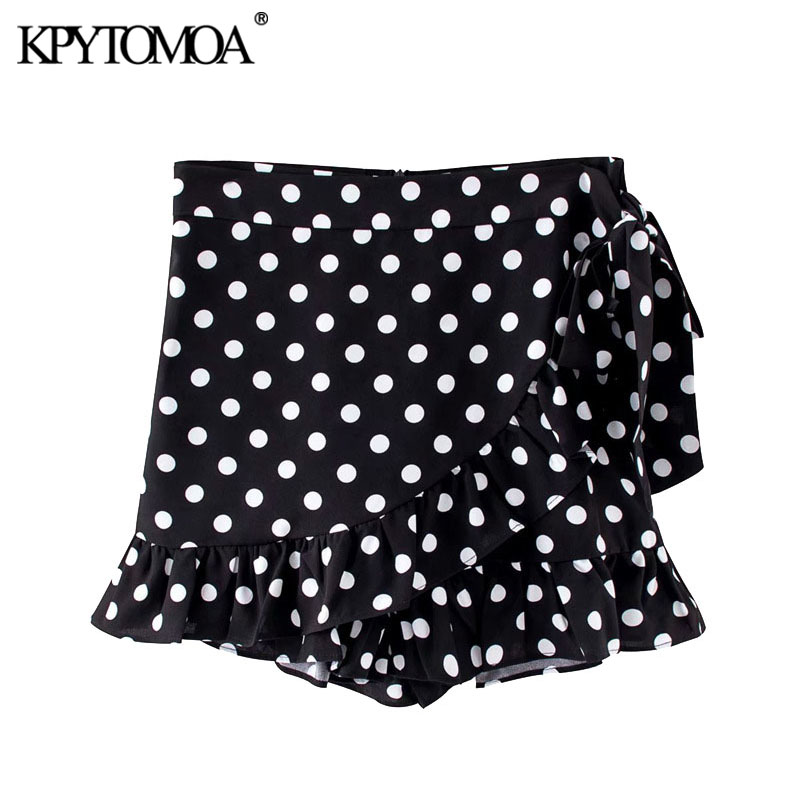 KPYTOMOA Women 2020 Chic Fashion Polka Dot Ruffle Wrap Shorts Skirts Vintage High Waist Side Zipper Bow Tied Female Short Pants