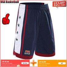 Новинка, летние уличные баскетбольные шорты для команды США, мужские спортивные шорты для спортзала и бега, эластичные свободные шорты до колен, большие размеры, M-3XL