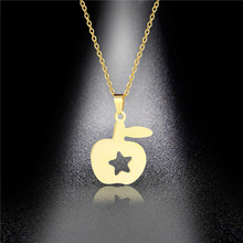stainless steel apple pitter Cute Apple Necklace Gold Clavicle Chain Stainless Steel Hollow Pentagram Pendant Jewelry Gift Wild