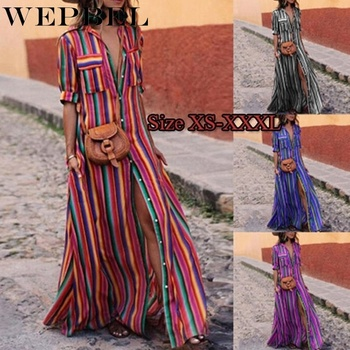 WEPBEL Women Summer Casual Loose Long Maxi Dress Striped Print Button Down Shirt Dress Boho Dress Plus Size button up shirred waist striped dress