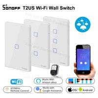 Sonoff t2 1 2 3 gang inteligente wifi interruptor de toque eua painel wi fi rf/app/toque controle interruptor de luz parede casa inteligente funciona com alexa|Módulos de automação residencial|   -