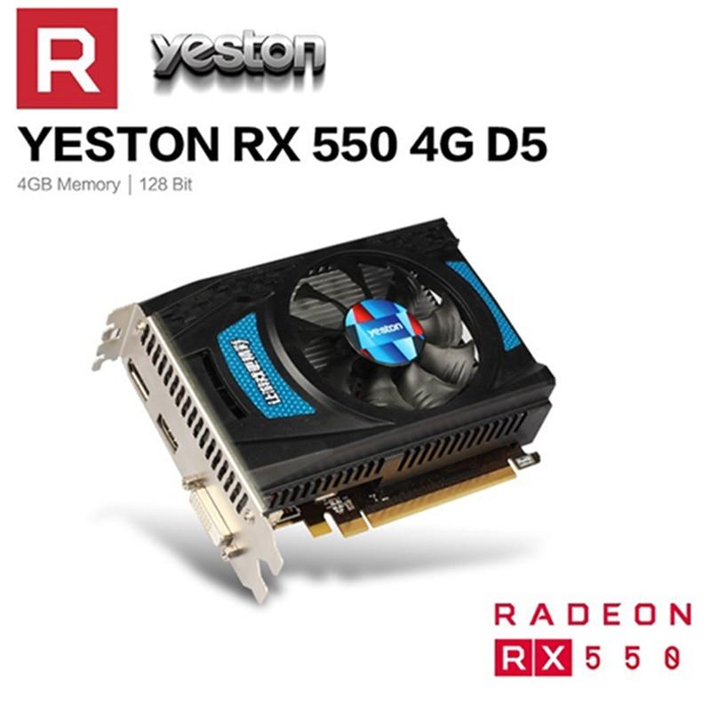 Yeston Radeon RX 550 GPU 4 Гб GDDR5 128bit игровой настольный компьютер PC Видео Графика Поддержка различных типов карт DVI-D/HDMI/DP PCI-E 3,0