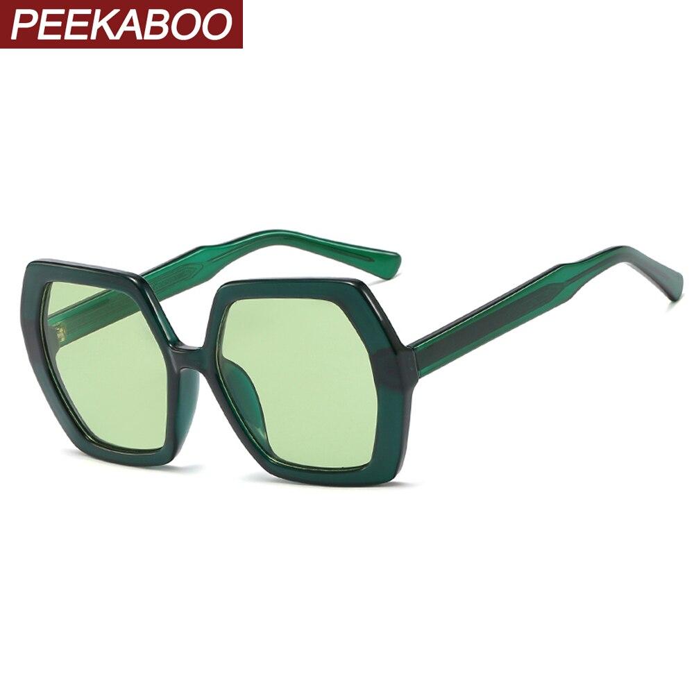 Peekaboo Female Oversized Sunglasses Women Hexagonal Summer Style Uv400 Polygon Man Ladies Sun Glasses Green Yellow 2020