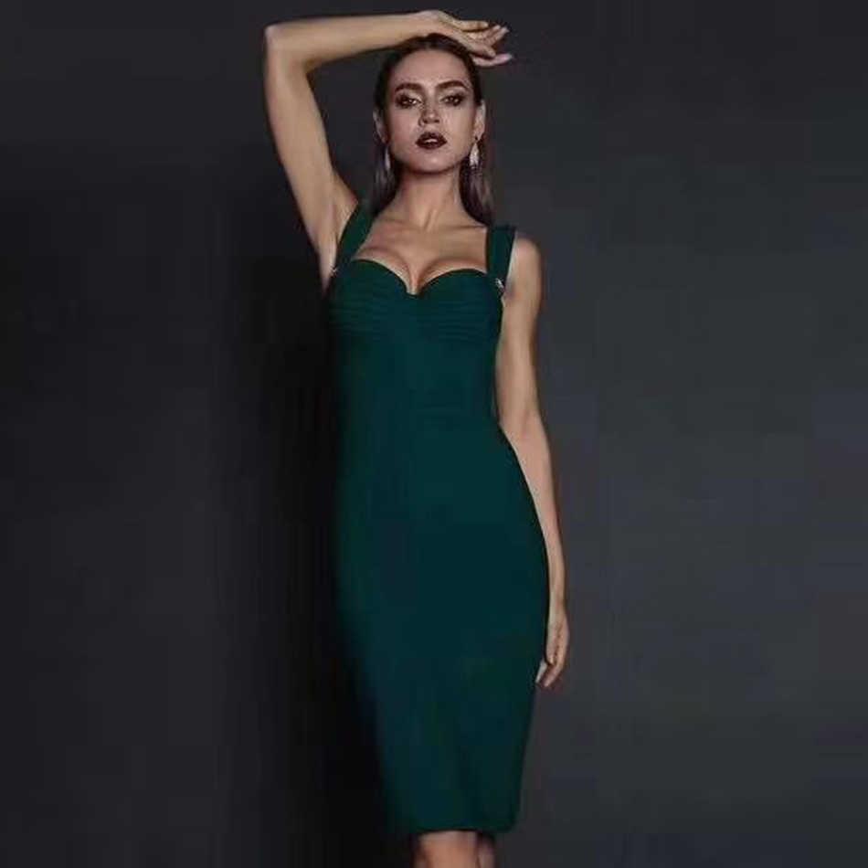 Adyce 2020 新しい夏の緑の包帯ドレス女性のセクシーなノースリーブスパゲッティストラップ赤クラブセレブイブニングパーティードレスvestidos