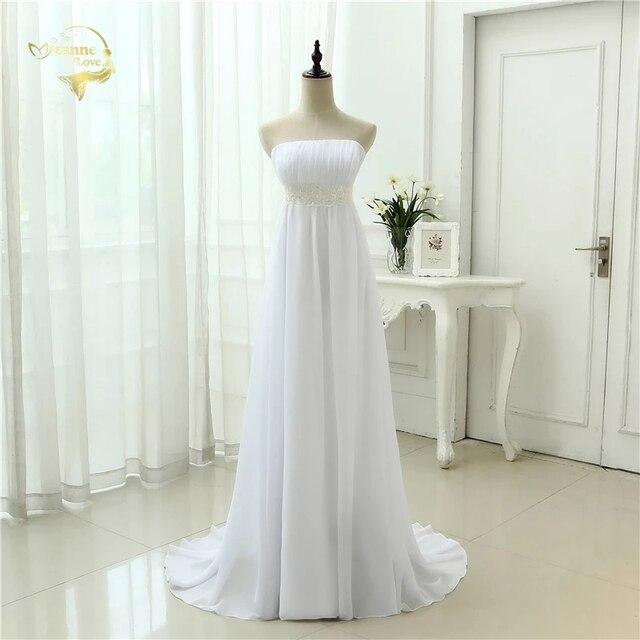 Vestido de novia sin tirantes, traje Empire, para embarazadas, de gasa, blanco marfil, largo, de talla grande, 2020