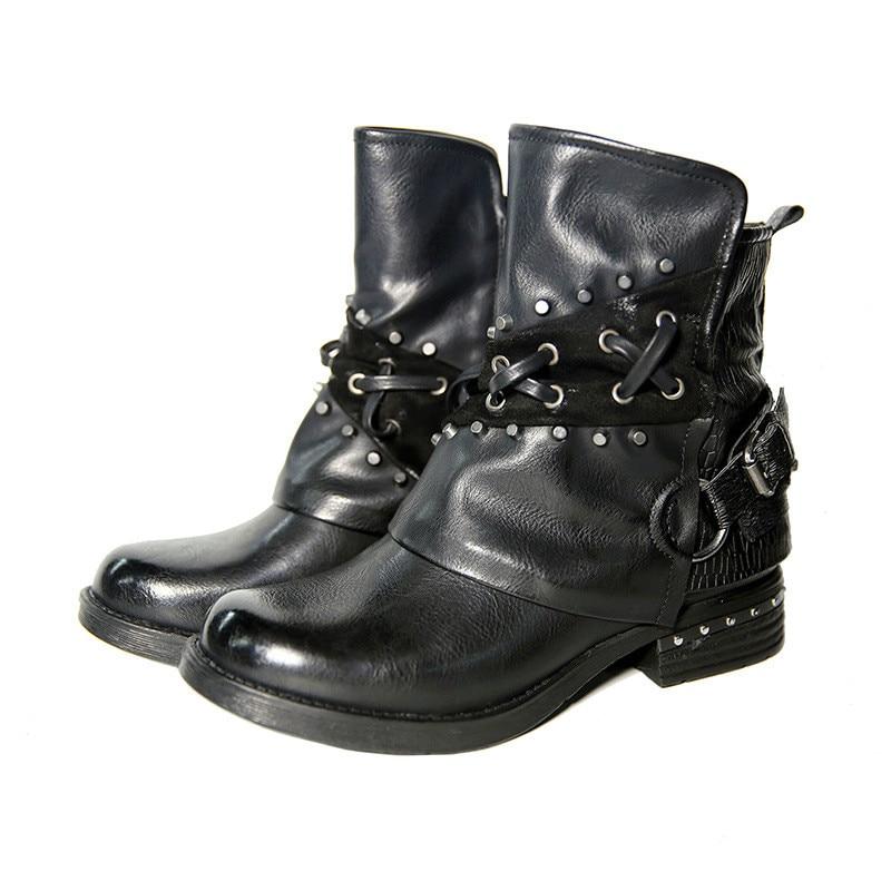 Rue à la main femmes Jason Martins bottes Vintage boucle cheville bottes femmes chaussures Zipper bas talon dames chaussures femme automne bottes
