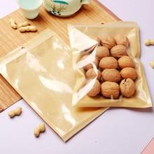 100pcs Zip Lock Fraft Gift Paper Bag Matte Translucent PE Kraft Paper Pouch Snack Nuts Powder Flour Spice Gift Coffee Beans