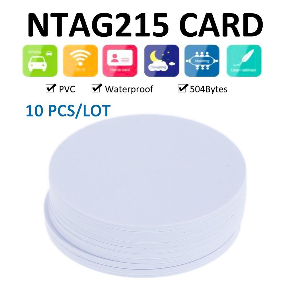 10 adet evrensel Ntag 215 NFC etiketi akıllı çip RFID tüketimi yuvarlak NFC etiketleri boş kartlar PVC erişim katılım kartları