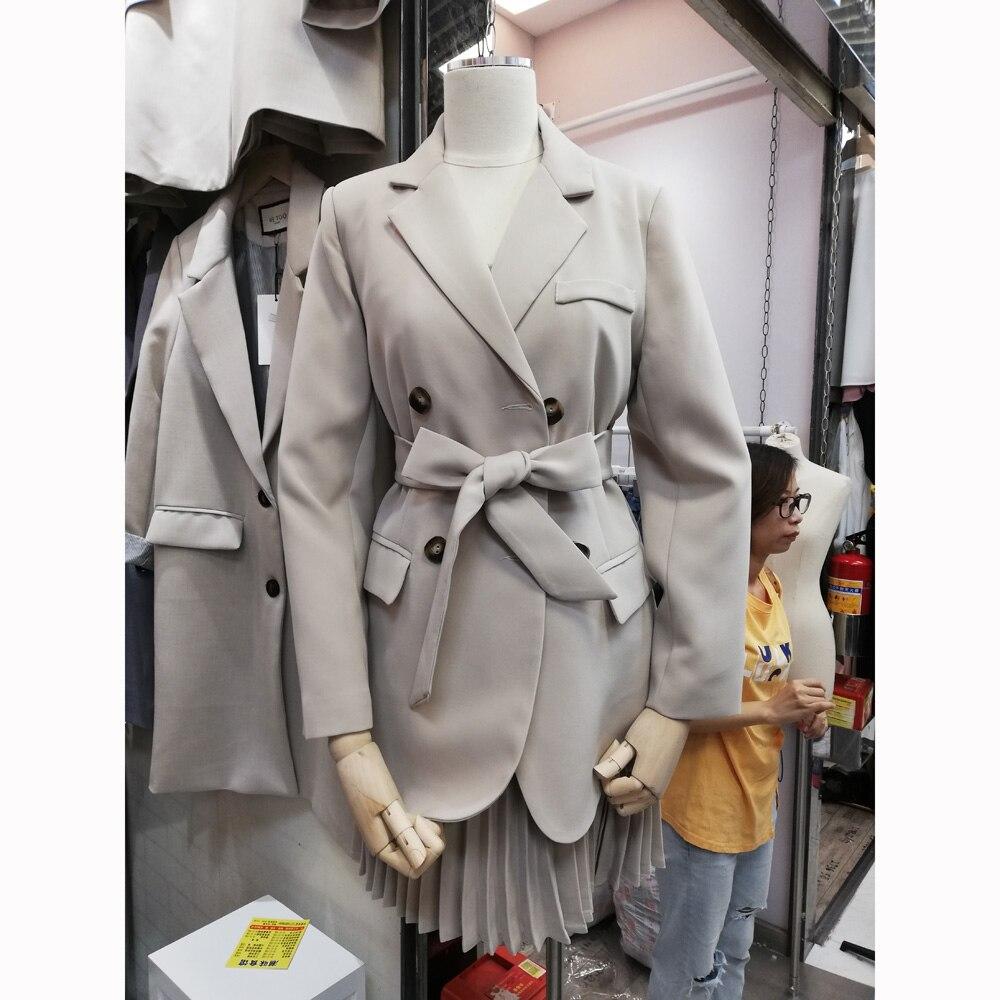 COIGARSAM Wholesale Women's Fashion Belt Blazers Long Sleeve Solid Color Work Office Business Blazer Coat 2019 New Autumn Suit