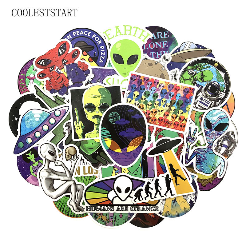 50Pcs/Pack Alien <font><b>UFO</b></font> Graffiti <font><b>Stickers</b></font> Cartoon <font><b>Stickers</b></font> For Luggage Laptop Refrigerator Motorcycle Skateboard Pegatinas image