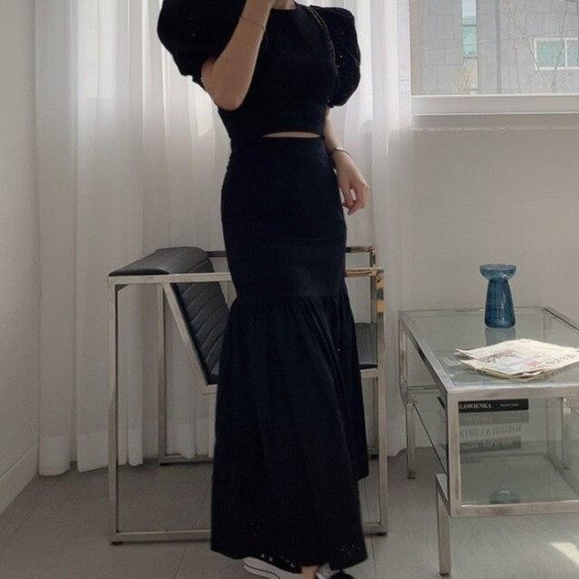 [EWQ] Pleated Ruffles High Elastic Waist Half-body Skirt Women Casual Tide New Summer 2021 Puff Sleeve Blouse White 2-piece Set 6