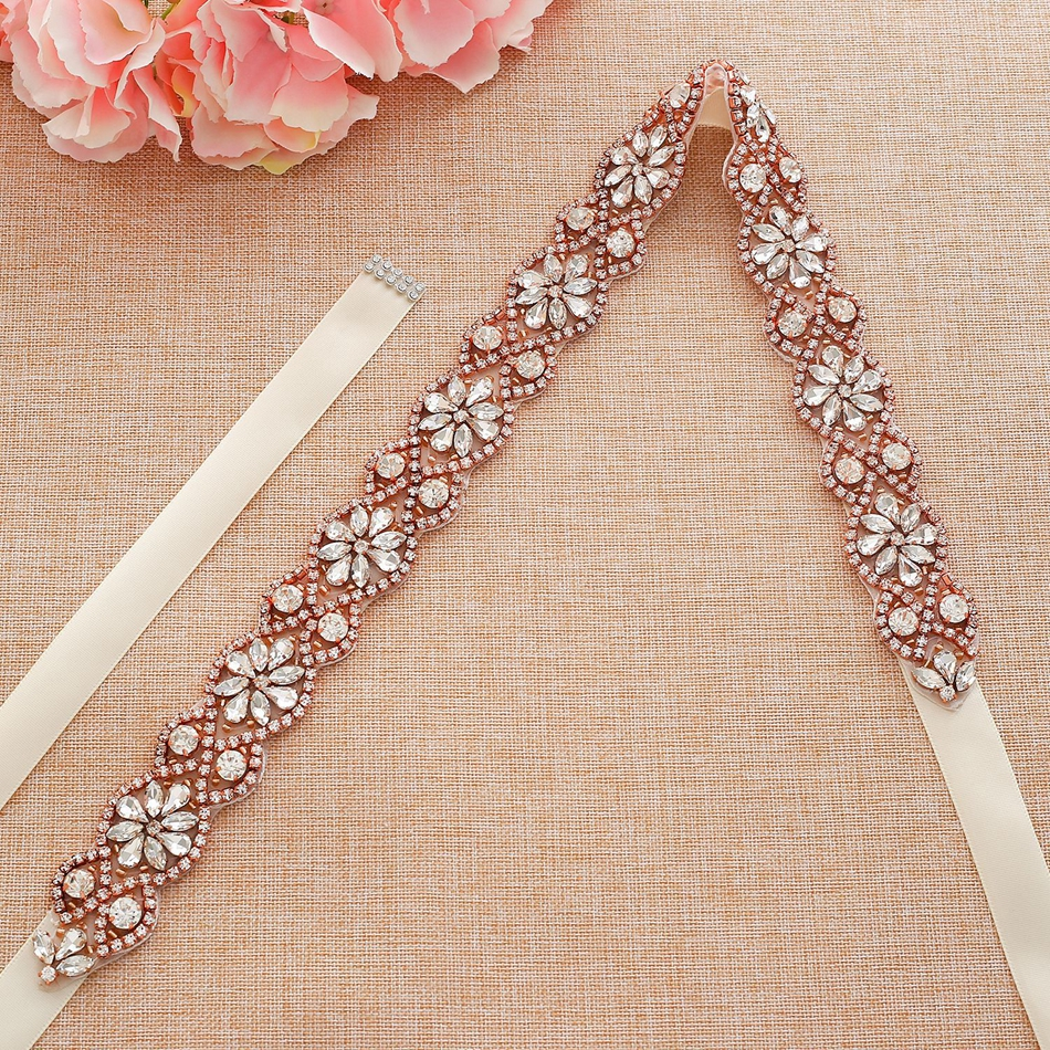 Mecresh Handmade Flower Wedding Dress Belt Sash Bridal Rose Gold Color Rhinestone Crystal Ivory Pink Black Belt For Women MYD037