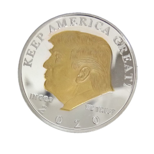 2020 silver-plated gold-plated two-color Trump commemorative coin gold and silver US president coin Trump crafts collection gift 2