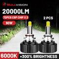 Bullvision Hir2 9012 Led 360 головной светильник H7 H11 9005 9006 Автомобильная лампочка 20000Lm 12V H8 H9 H1 льда автолампа HB3 HB4 туман светильник Moto H4 CSP