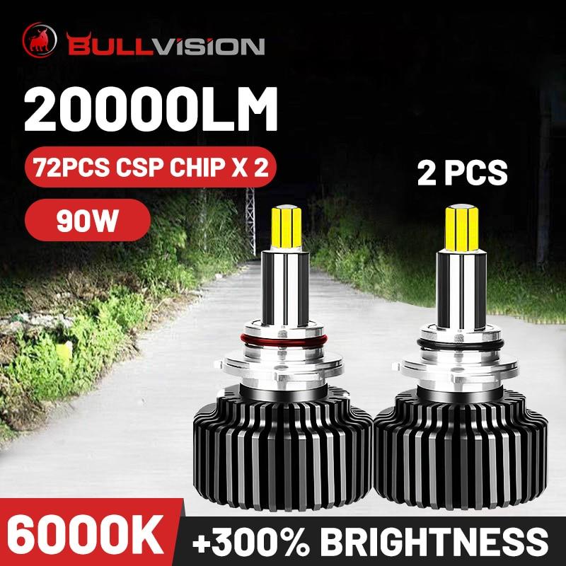 Bullvision Hir2 9012 Led 360 far H7 H11 9005 9006 araba ampulü 20000Lm 12V H8 H9 H1 buz Autolamp HB3 HB4 sis lambası Moto H4 CSP|Araba Far Ampulleri (LED)|   -