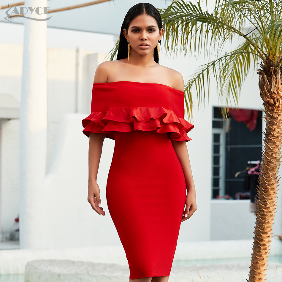 Adyce 2020 New Spring Red Off Shoulder Bandage Club Dress Sexy Long Sleeve Ruffles Bodycon Celebrity Evening Party Dress Vestido