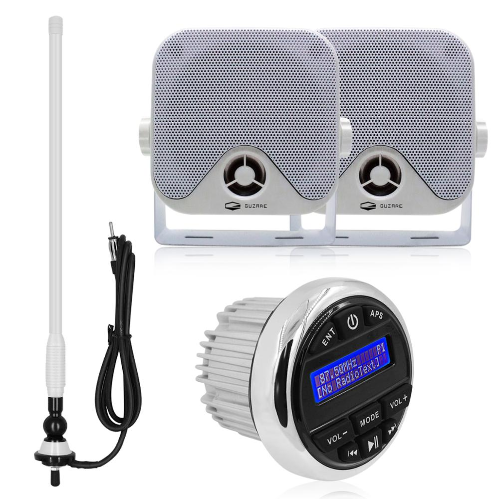 "Waterproof Marine Stereo Radio Audio Media Receiver Bluetooth DAB+ Car MP3 Player+4"" Marine Heavy Duty Box Speaker+FM AM Antenna"