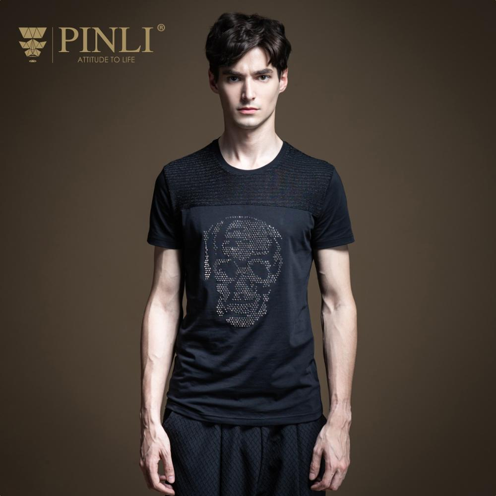 Pinli 2020 Summer New O-neck Cotton Slim Mixing Material Small Round Beads Skull Soft Casual Men Short Sleeve T-shirt B202211072