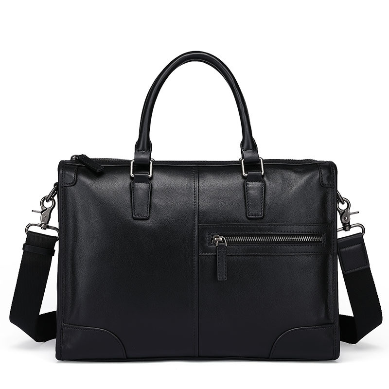 New Designer Brand Genuine Cow Leather Men's Briefcase Fashion Solid Color Mens Shoulder Bag Business Laptop Bag